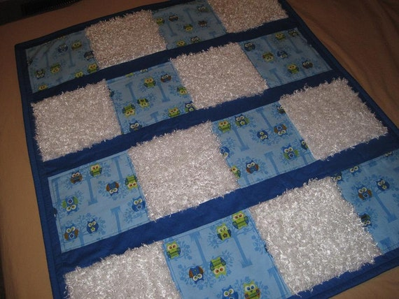 Handmade Baby Boy Owl Patchwork Quilt-HOOT OWL Friends Teal/Navy Blue/White Owl Baby Quilt-Textured Sensory Baby Boy Owl Quilt-One of a Kind