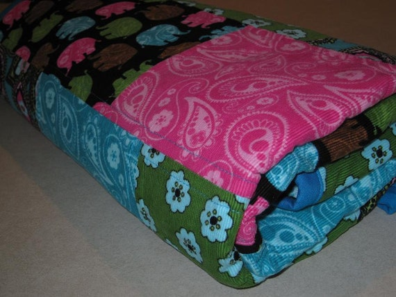"""Baby Elephant Quilt """"Paisley Parade"""" Patchwork Corduroy Quilt ,Teal Blue, Pink, Green, Black, Photo Prop, Small Lap Quilt, Heirloom Quilt"""