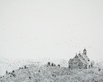The Old Church - an original pen and ink drawing