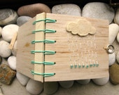 Rain Cloud, Secret Belgian Binding Mini Balsa Notebook, FREESHIPPING