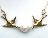 Love Birds Vintage Style Gold-Filled 14K  And Fresh Water Pearl Necklace