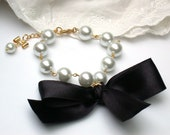 Carrie Bradshaw Inspired Pearl Bracelet In Black Satin Ribbon