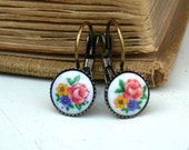 Vintage Glass Floral Bouquet  Earrings