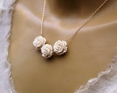 Three Off White Roses Necklace in 14K Gold Filled Chain