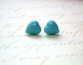 Heart Earrings - Antique Turquoise Glass Heart Stones Posts Earrings-Something Blue