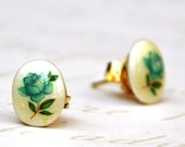 Vintage Pearly  Porcelain with a Teal Blue Rose Studs Earrings