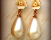 Gorgeous Studs Earrings In Cream White Antique Pearl Drops With  an Ivory Beautiful Rose Antique  Renaissance style