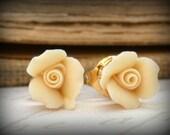 Romantic  Country Wedding Earrings Little Ivory  Rose Flower Posts