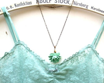 Mint Necklace - A Romantic Mint Green Rose Necklace