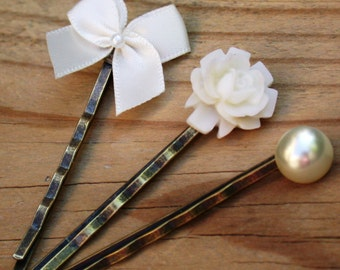 Gorgeous Cream Bobby Pins Trio Set  Vintage Style Perfect for Bride, Wedding, Bridesmaids And Formal