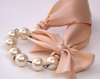 Carrie Bradshaw  Inspired Pearl Necklace In Nude Color Satin Ribbons. Perfect for Bride, Wedding, Bridesmaids And Formal