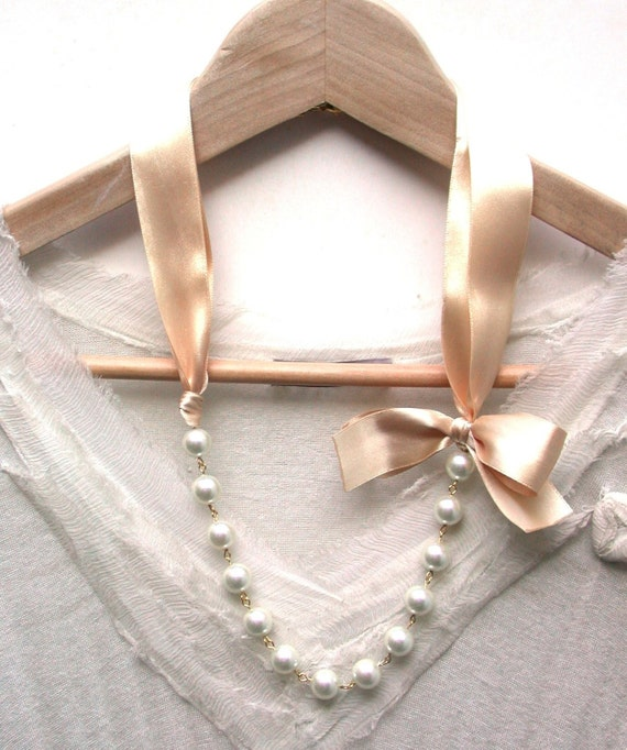 Carrie Bradshaw Inspired Pearl Necklace In  Peach Cream Satin  Ribbon