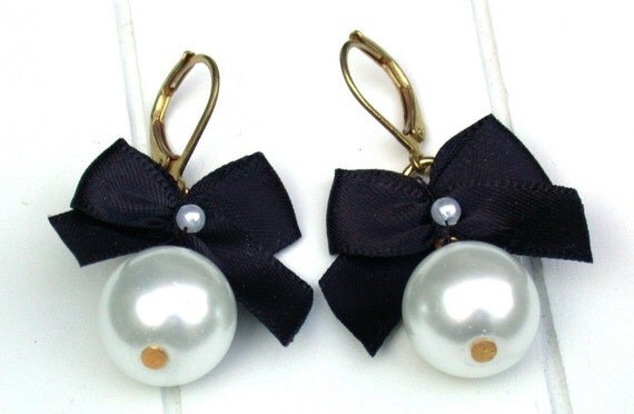 Bow Earrings  Black Satin Ribbon Bow And White Pearls Earrings