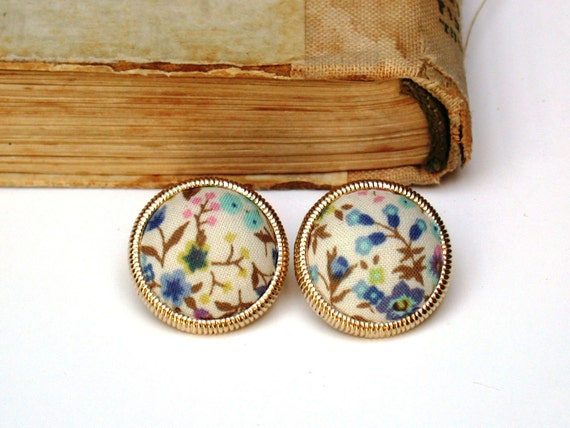 Vintage Glass Floral Fabric Covered Button  Studs Earrings