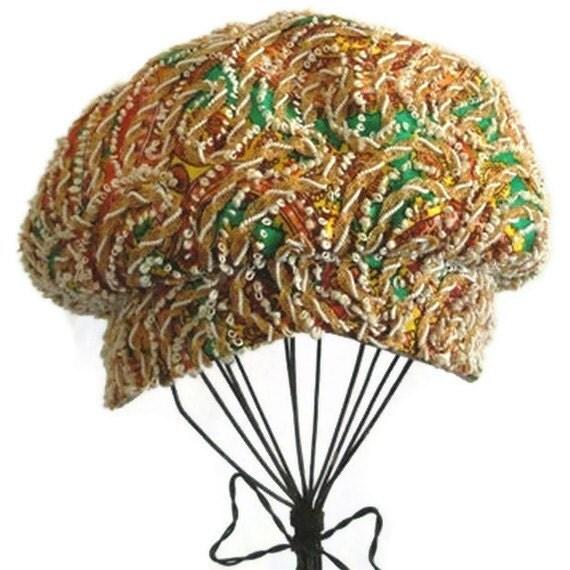 Vintage Hat - Multicolor Women's Newsboy Style Hat