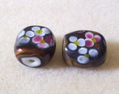Autumn Floral in Chocolate - Lampwork Glass - 2 beads
