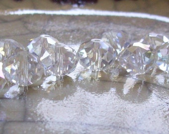 Crystal Faceted Glass Rondelles - 10mm - 12 beads
