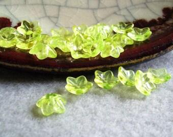 Glass Flower Bead caps - Buttercup - 25 beads