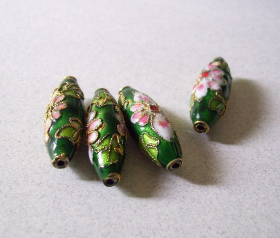Cloisonne Tapered Tube Beads - Floral Green and Pink - 4 beads