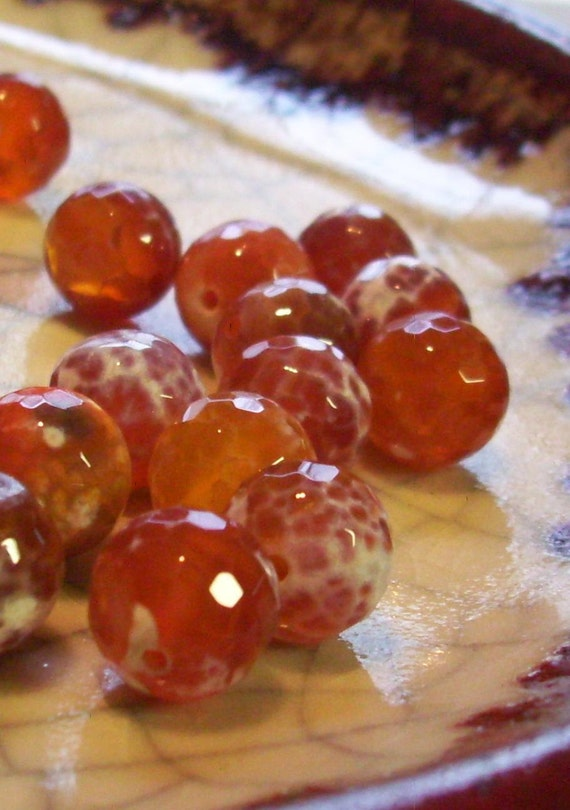 Fire Agate - Faceted Disco Beads - 10mm - 16 beads