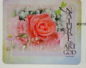 Mouse Pad - Nature is the Art of GOD - Pink Rose - Typography / Shabby