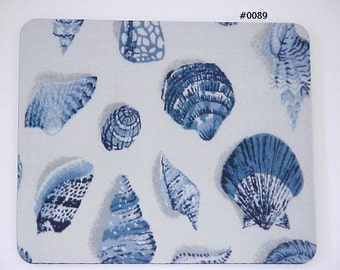 Beach Cottage Blue Sea Shell  Mouse Pad / Craft Mat 0089