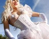 Iridescent White Glitter Underbust Corset