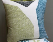 Chasm Hand Printed Pillow - Teal/Lime/Black