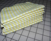 Upcycled Yellow & White Stripes Flannel Cloth Napkins - Baby Wipes