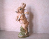 Primitive Folk Art Chalkware Rabbit From Vintage Chocolate Candy Mold F.R.E.E. SHIPPING and INSURANCE -