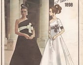 1960s VOGUE Paris Original LANVIN One Shoulder EVENING GoWN with Bow Sewing Pattern - Size 10, As-is