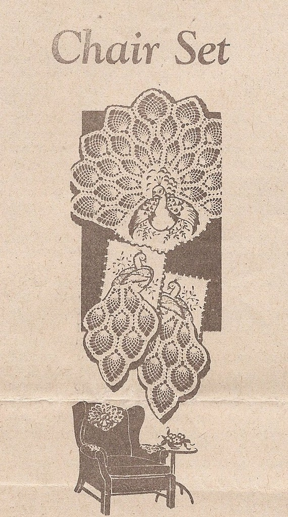 Vintage Mail Order Pineapple Crocheted PEACOCK Chair Set Crochet Pattern