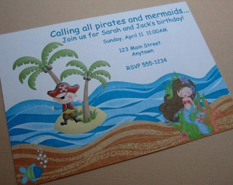 Pirate and Mermaid Birthday Party Custom Invitations - Treasure Cove Collection