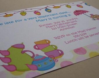 Tea Party Birthday Custom Invitations - Wonderland Tea Party Collection