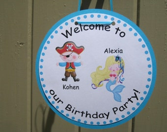 Pirate and Mermaid Party Custom Birthday Door Sign - Treasure Cove Collection