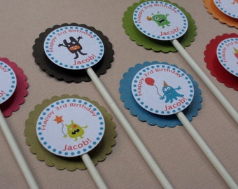 Monster Party Custom Cupcake Toppers - My Little Monster Collection