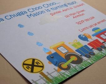 Train Birthday Party Custom Invitations - Chugga Chugga Choo Choo Collection