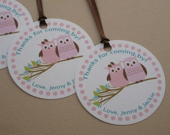 Owl Party Custom Favor Tags - Woodland Owls Collection