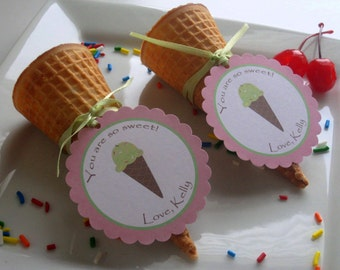 Ice Cream Party Custom Favor Tags - Ice Cream Social Collection