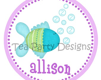 Blue Lagoon...Personalized Fish Party Iron-on Shirt Transfer