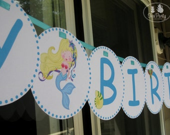 Pirate and Mermaid Party Custom Birthday Banner - Treasure Cove Collection