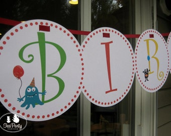 Monster Party Custom Birthday Banner - My Little Monster Collection