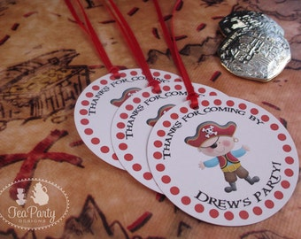 Red Boy Pirate Party Custom Favor Tags - Ahoy Matey Collection