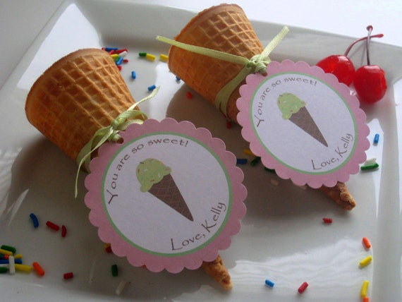 Ice Cream Party Custom Favor Tags - Ice Cream Social Collection