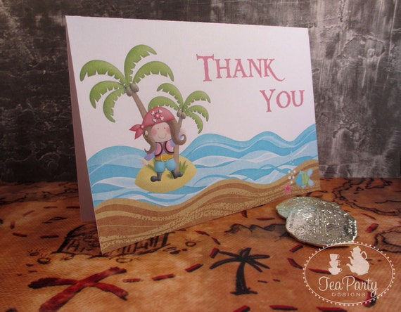 Pirate Girl Party Thank You Notes - Ahoy Matey Collection