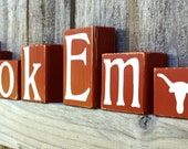 Hook Em Blocks - Longhorns - College - UT - Custom - Texas Personalized Sign - Shelf - Team - Name - University - Football