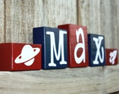 PERSONALIZED NAME BLOCKS - Planet - Saturn - Rocketship - Spaceship - Boy Room - Sign - Custom Name Letters - Outer Space