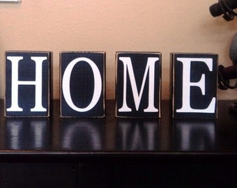 CUSTOM BLOCK LETTERS - Home - Decor - Sign - Shelf - Gift - Wood - Distressed - Last Name - House Warming