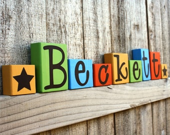 CUSTOM LETTER BLOCKS - Personalized Name - Bedroom - Boy Nursery - Sign - Stars - Whimsical - Baby Shower Colorful Decor