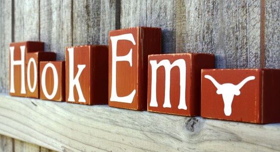 Hook Em Blocks - Longhorns - College - UT - Custom - Texas Personalized Sign - Shelf - Team - Name - University - Football